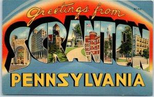 Vintage SCRANTON Pennsylvania Large Letter Postcard Linen c1940s *CREASED