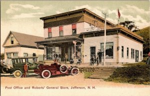 Post Office and Roberts General Store Jefferson NH UDB Vintage Postcard R28