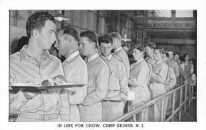 Camp Kilmer New Jersey~WWII Army Post~Mess Hall Chow Line~Soldiers~1940s B&W PC