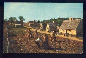 Plymouth, Massachusetts/MA Postcard, Pilgrim Farmer At Plimouth Plantation