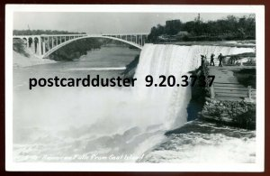 3737 - NIAGARA FALLS NY 1950s Bridge from Goat Island. Real Photo Postcard