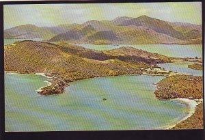 P1571 vintage unused pan am postcard airview antigua english harbor caribbean