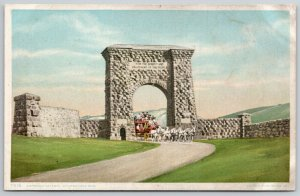 WY~Entrance Gateway @ Yellowstone Natl Park~Fot the Benefit & Enjoyment~c1910 PC