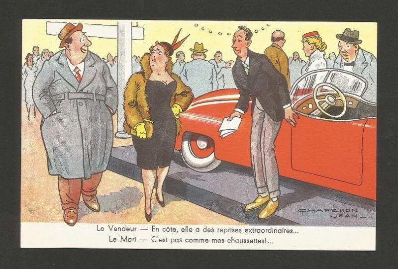 Cars ART POSTCARD 1950s AUTOMOBILES CAR SALE COMIC FAT COUPLE Z1