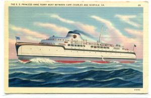 SS Princess Anne Ferry Boat Ship Cape Charles Norfolk Virginia 1940 postcard