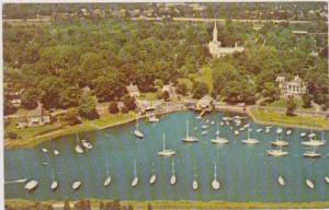 Aerial View of Sailboats Docked in the Harbor Along the Connecticut Shore