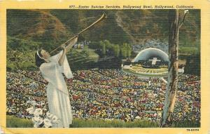 Hollywood CA~Easter Sunrise Services at Bowl~Angel Lady Blows Horn~1947 Linen PC