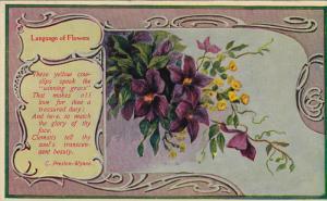 Language Of Flowers, Golden Cowslips, Clematis, Poem by C. Preston Wynne, 190...
