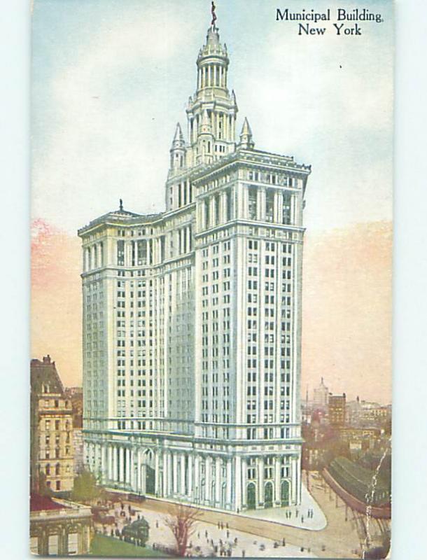 Unused Divided-Back MUNICIPAL BUILDING Manhattan New York NY p1323