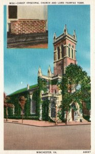 Winchester, VA, Christ Episcopal Church, Lord Fairfax Tomb, Oldc Postcard g8149