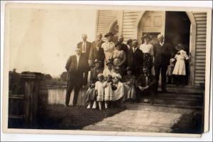 RPPC, Group of People on Church Steps