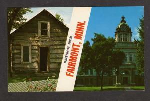 MN Greetings FAIRMONT MINNESOTA Postcard PC Log Cabin