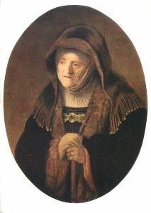 Painting Drawing Postcard Rembrandt mother portrait