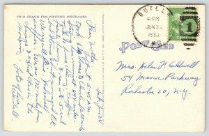 Butler Indiana~Farmer Behind Horse Drawn Plow~1950 Linen Postcard