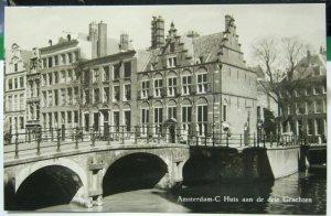Netherlands Amsterdam C Huis aan de drie Grachten RPPC - unposted