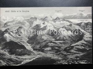 Old PC - Bulle et la Gruyere - Switzerland Mountain Map Postcard