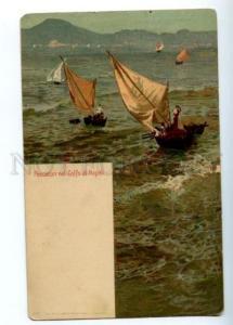 155623 ITALY Fishermen Golfo di Napoli Vintage litho postcard