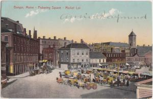Maine Me Postcard c1910 BANGOR Pickering Square MARKET LOT Busy Day