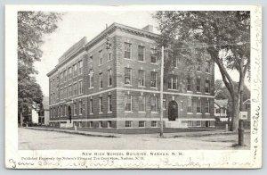 Nashua New Hampshire~New High School Building~Corner View~1906 B&W Postcard