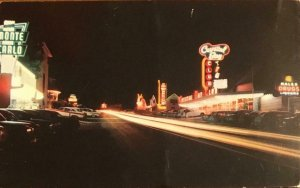 Lake Tahoe CRYSTAL BAY NV Neon Signs Night View Roadside c1950s Vintage Postcard