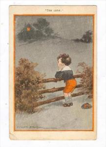 SPURGIN: Boy at fence  Too Late , PU-1915