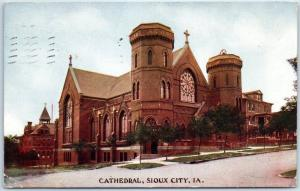 Sioux City, Iowa Postcard CATHEDRAL Church Building Street View 1908 Cancel