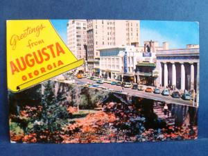 Postcard GA Augusta Dual View Broad Street Old Cars