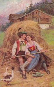 Austria A Tyrolese Courtship Signed Gerstenhauer