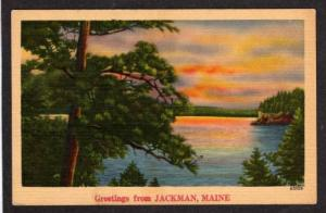 ME Greetings from JACKMAN MAINE PC Linen Postcard