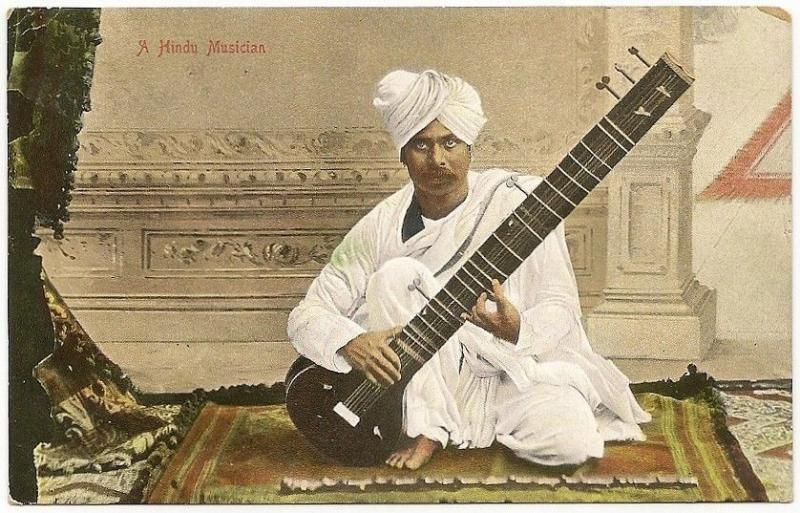 India 1910s Hindu Musician playing a sitar color postcard MUSIC