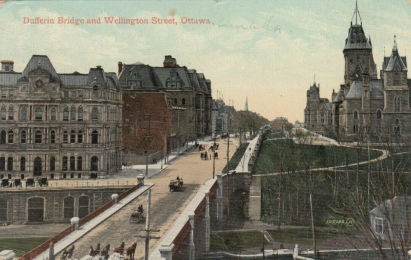 OTTAWA , Ontario, 1910 , Dufferin Bridge and Wellington Street
