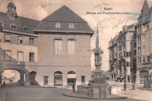 Switzerland Old Vintage Antique Post Card Basel Munze mit Fischmarktbrunnen U...