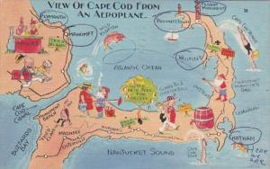 Massachusetts Map Of Cape Cod From An Aeroplane 1956