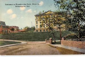Wilmington Delaware Brandywine Park Entrance Antique Postcard K95190