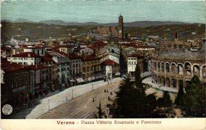 CPA VERONA Piazza Vittorio Emanuele e Panorama . ITALY (493772)