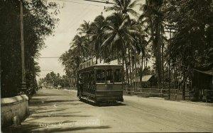 singapore, Tanjong Katon, Tram Street Car (1910s) RPPC Postcard