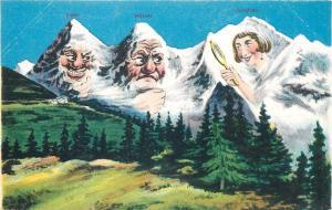 Comic humanized mountains peaks Switzerland caricatures Eiger Monch & Jungfrau