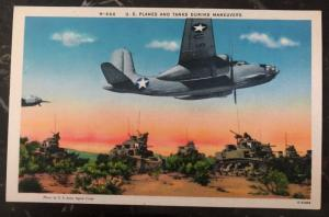 Mint Usa PPC Picture Postcard US Planes & Tanks During Maneuvers
