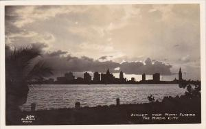 Florida Miami Sunset Over The Magic City Real Photo