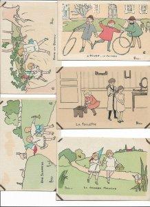 Artist Signed Henriette Delalain Kids Postcard Lot of 12    01.19