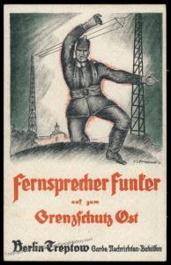 Germany 1919 Grenzschutz Ost Freikorps Berlin Radioman Recruiting Card 88360