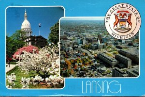 Michigan Lansing Aerial View & State Capitol Building 1996