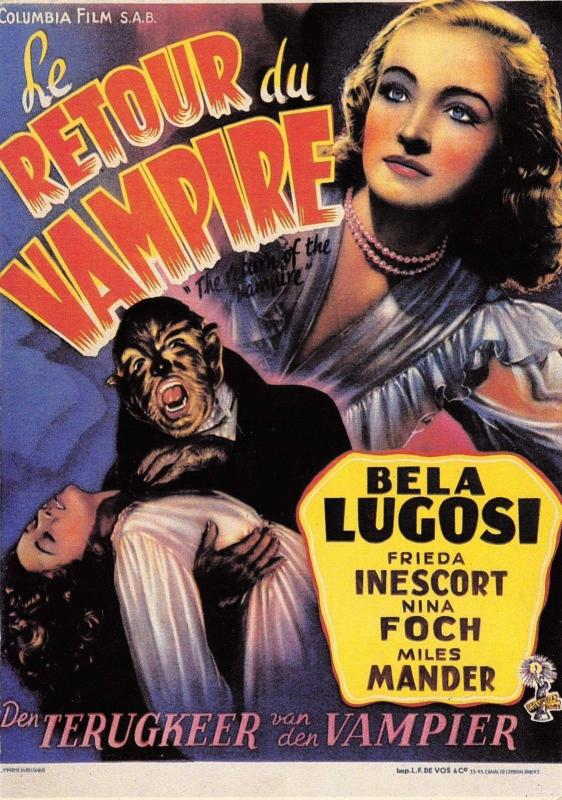 Postcard The Return of the Vampire 1943 French Reproduction Film Advert Card #R