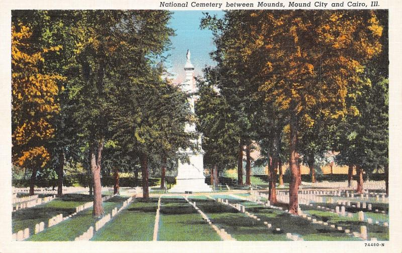Mounds~Mound City~Cairo IL~National Civil War Soldiers Monument~Cemetery~1940s