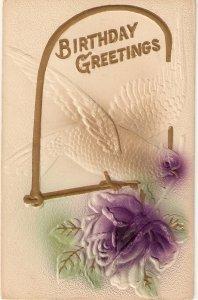 Dove carrying a rose Vintage German Birthday Greetings  Postcard. Embossed