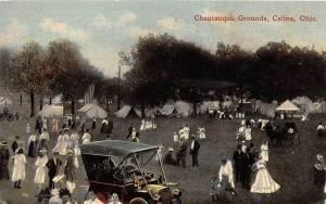 E42/ Celina Ohio Postcard c1912 Chautauqua Grounds Crowd Tents Autos