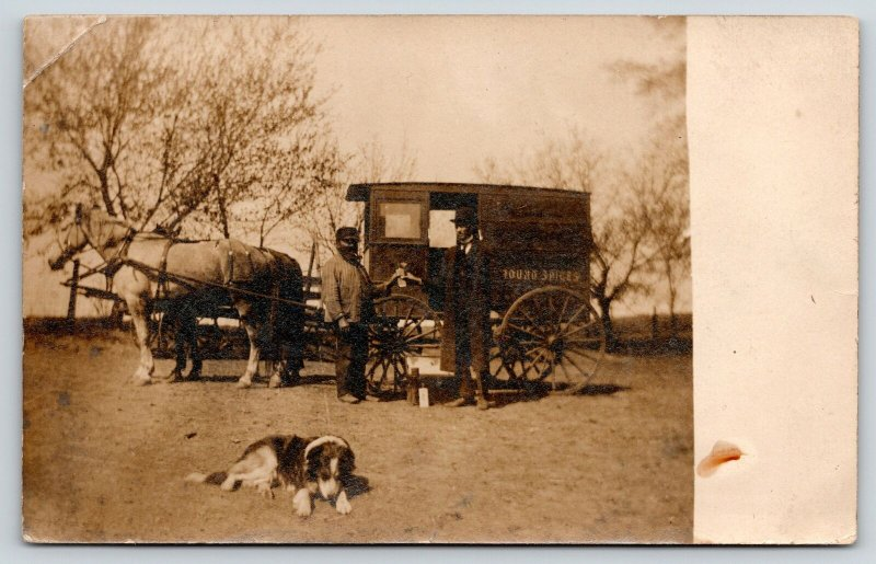 Real Photo Postcard~Ground Spices~Snake Oil Traveling Salesman Wagon~Flask~1908
