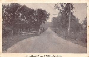 Onsted MI~Rural Rd Over Creek/Stream Out of Town Slee? Postcard 1930 Greetings