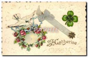 Old Postcard Fancy Embroidery Dove St. Catherine