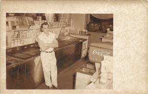Interior Ice Cream Parlor Coca Cola Fountain Real Photo Postcard